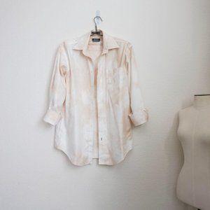 Nautica white tan hand tie-dye button front shirt